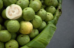 A basket full of guavas