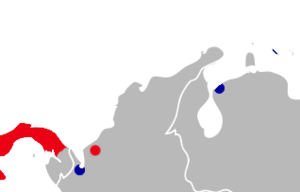 Blue marks the location of Gorgas's rice rat