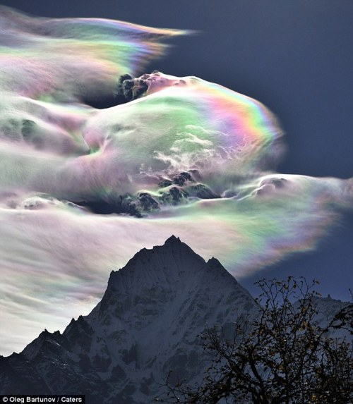 Psychedelic rainbow over Mount Everest